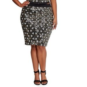 Ashley Stewart Geo Sequin Front Pencil Skirt